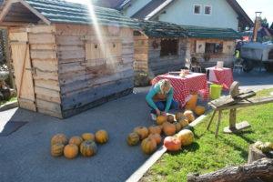 Simpatične lesene hiške, kjer potekajo otroške delavnice in animacije...