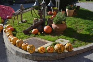 ... v času našega obiska so otroci iz bližnjega vrtca izrezovali buče za noč čarovnic.