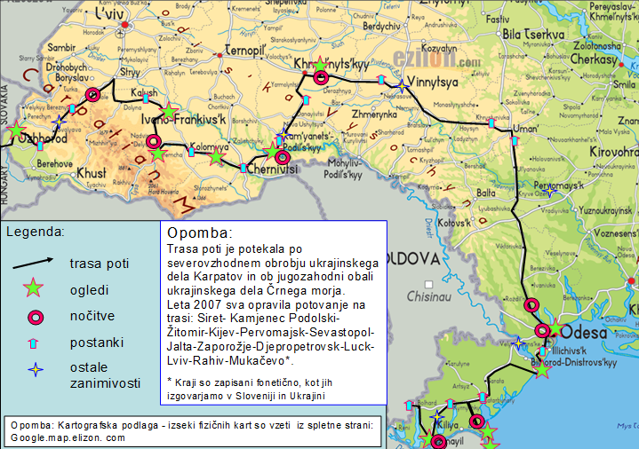 Vzhodna Evropa - mapa Ukrajine